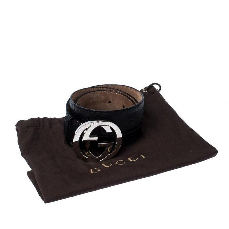 Gucci Black Guccissima Leather Interlocking G Belt 85CM For Sale 2