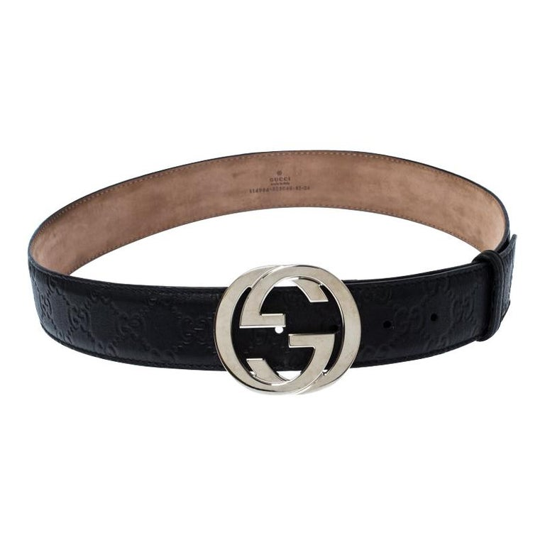 Gucci Black Guccissima Leather Interlocking G Belt 85CM For Sale