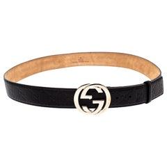 Gucci Black Guccissima Leather Interlocking G Buckle Belt 95CM
