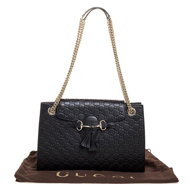 Gucci Black Guccissima Leather Large Emily Chain Shoulder Bag For Sale 8