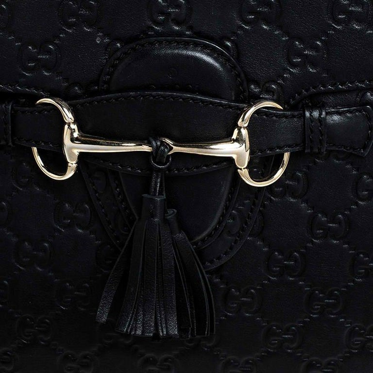 Gucci Black Guccissima Leather Large Emily Chain Shoulder Bag For Sale 1