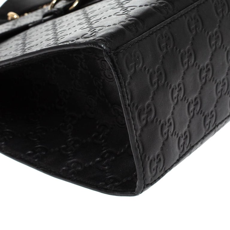 Gucci Black Guccissima Leather Large Emily Chain Shoulder Bag For Sale 2