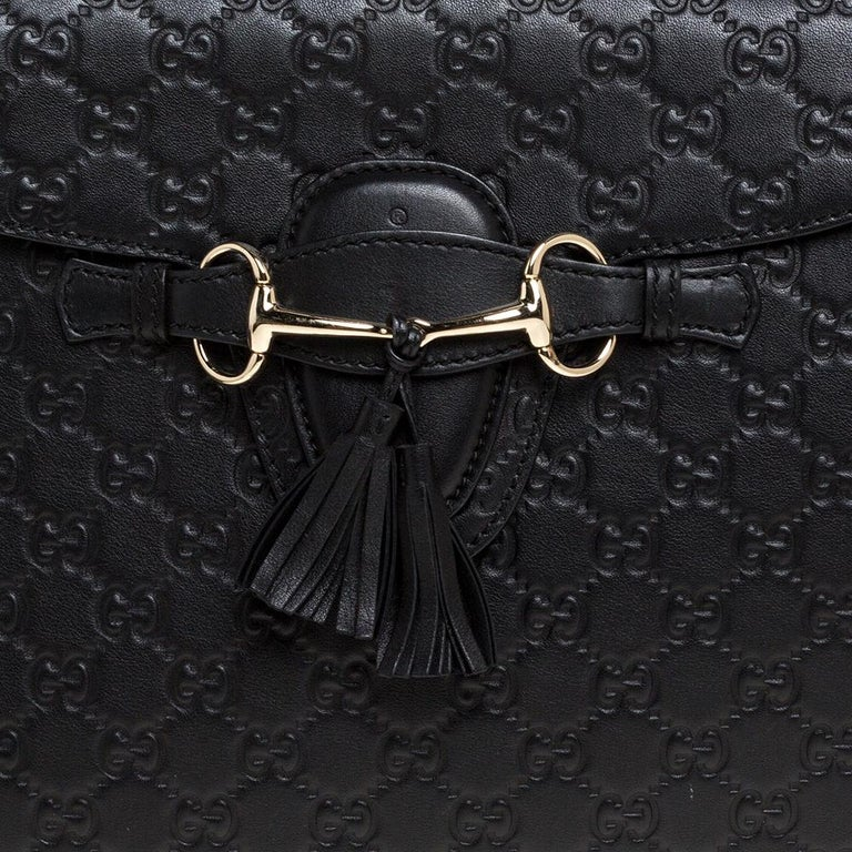Gucci Black Guccissima Leather Large Emily Chain Shoulder Bag For Sale 3