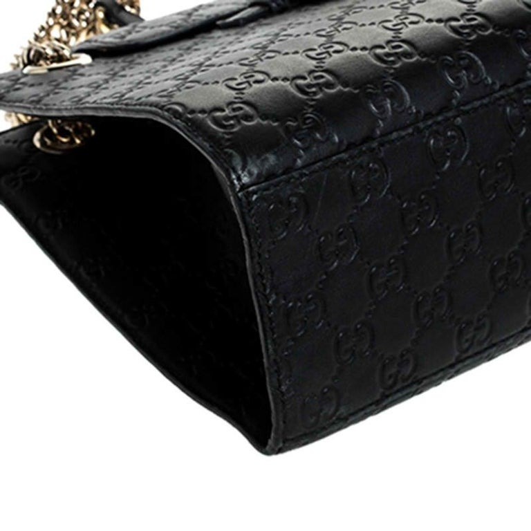 Gucci Black Guccissima Leather Large Emily Chain Shoulder Bag For Sale 4