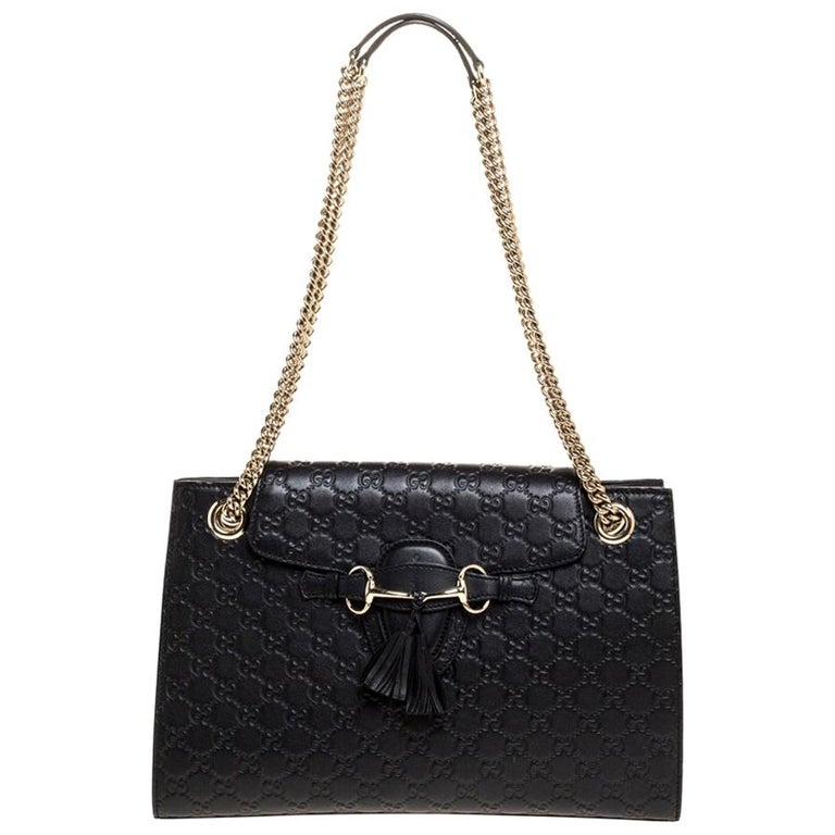 Gucci Black Guccissima Leather Large Emily Chain Shoulder Bag For Sale