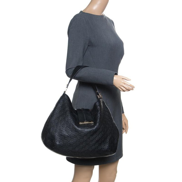 11caf69c69d4 Gucci Black Guccissima Leather Large New Ladies Vintage Web Hobo For Sale.  A handbag should not only be good-looking but also durable, just like this