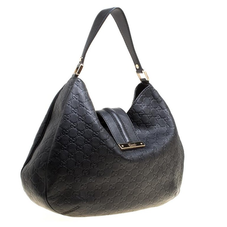 e0523296569b Women's Gucci Black Guccissima Leather Large New Ladies Vintage Web Hobo  For Sale