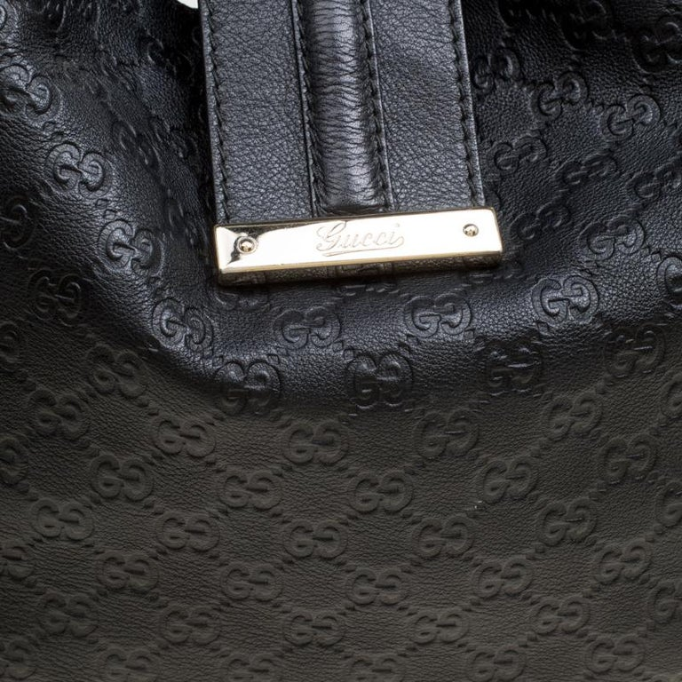 097fab30e549 Gucci Black Guccissima Leather Large New Ladies Vintage Web Hobo For Sale 4