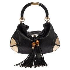 Gucci Black Guccissima Leather Medium Babouska Indy Hobo