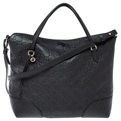 Gucci Black Guccissima Leather Medium Bree Tote