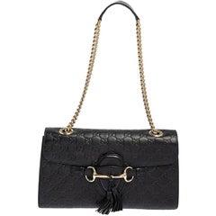 Gucci Black Guccissima Leather Medium Emily Chain Shoulder Bag