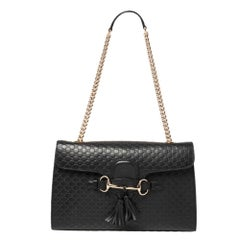 Gucci Black Guccissima Leather Medium Emily Shoulder Bag