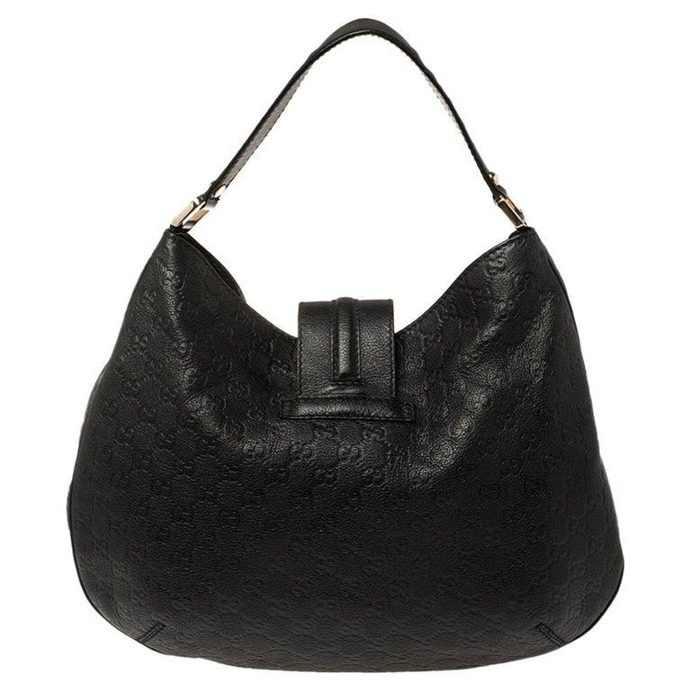 Women's Gucci Black Guccissima Leather Medium Hobo For Sale