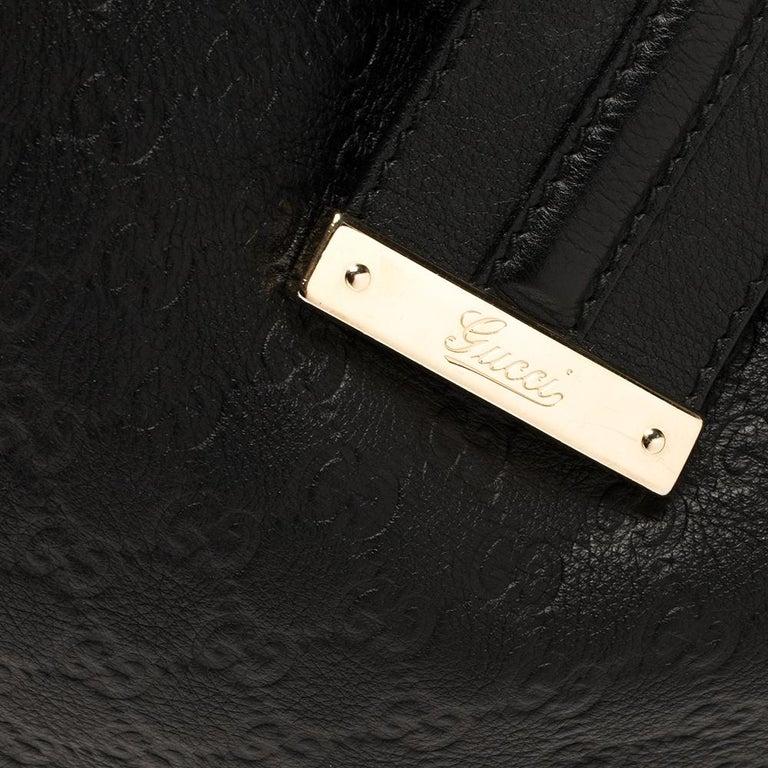 Gucci Black Guccissima Leather Medium Hobo For Sale 1