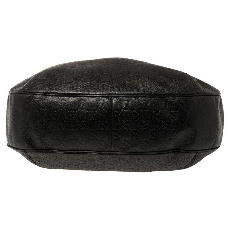 Gucci Black Guccissima Leather Medium Hobo For Sale 4