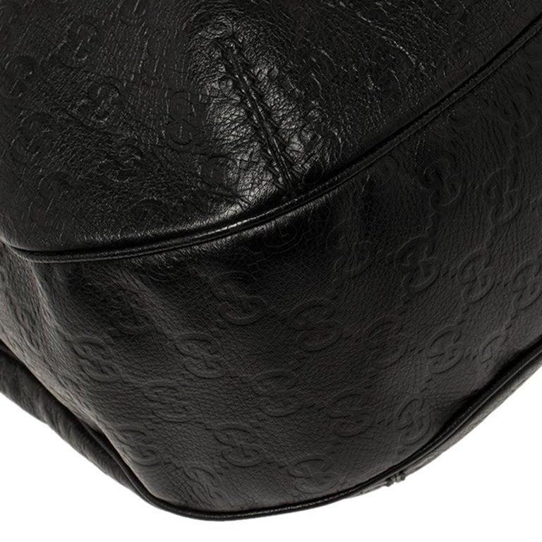 Gucci Black Guccissima Leather Medium Hobo For Sale 5