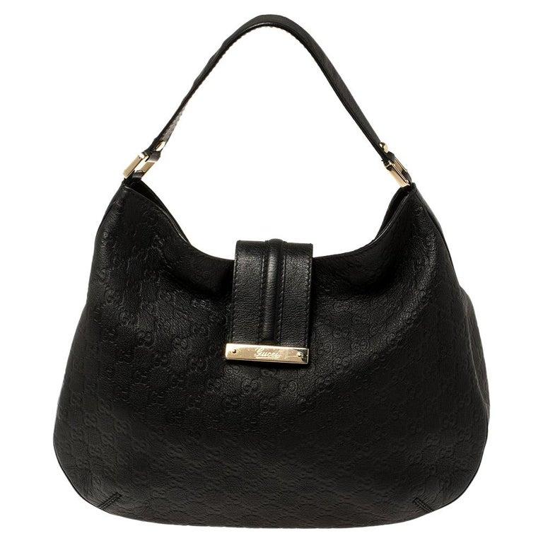 Gucci Black Guccissima Leather Medium Hobo For Sale