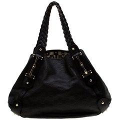 Gucci Black Guccissima Leather Medium Horsebit Pelham Shoulder Bag