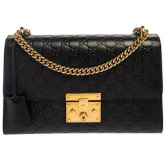 Gucci Black Guccissima Leather Medium Padlock Shoulder Bag