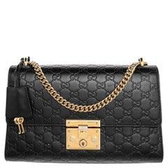 Gucci Black Guccissima Leather Medium Padlock Shoulder Bag