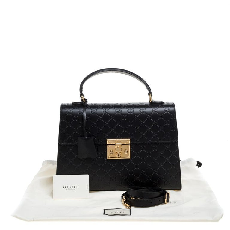 Gucci Black Guccissima Leather Medium Padlock Top Handle Bag For Sale 8