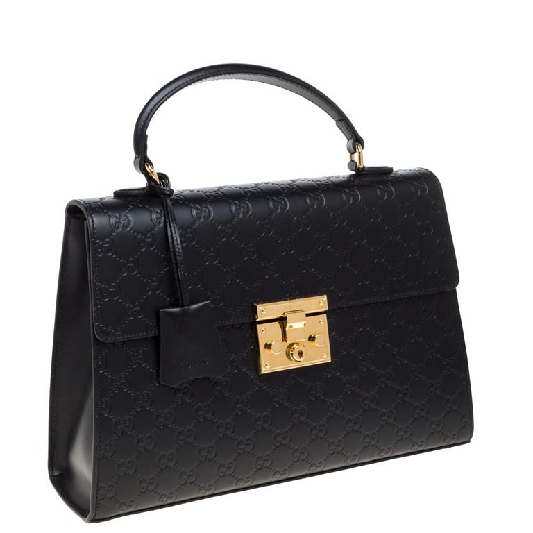 Women's Gucci Black Guccissima Leather Medium Padlock Top Handle Bag