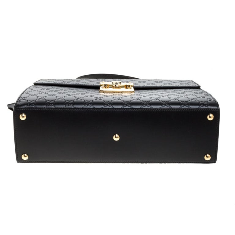 Gucci Black Guccissima Leather Medium Padlock Top Handle Bag For Sale 1