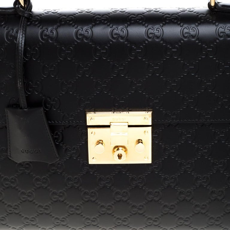 Gucci Black Guccissima Leather Medium Padlock Top Handle Bag 2