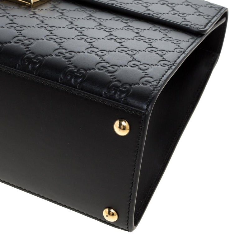 Gucci Black Guccissima Leather Medium Padlock Top Handle Bag For Sale 5