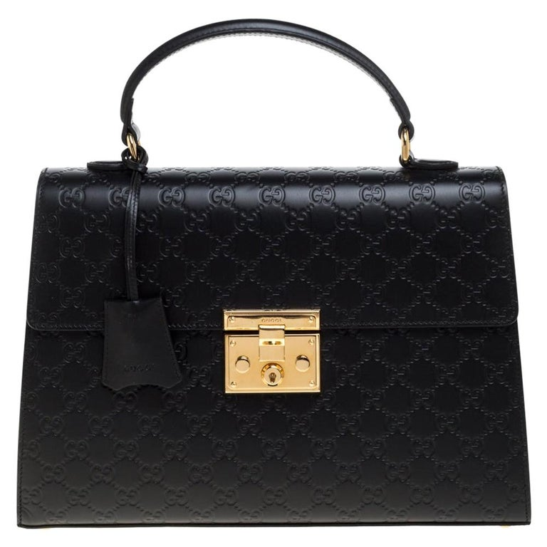 Gucci Black Guccissima Leather Medium Padlock Top Handle Bag For Sale