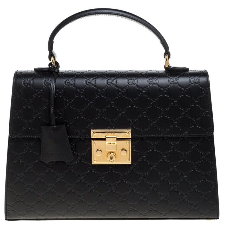 Gucci Black Guccissima Leather Medium Padlock Top Handle Bag