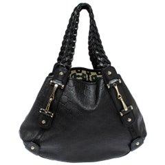 Gucci Black Guccissima Leather Medium Pelham Shoulder Bag