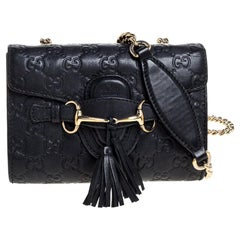 Gucci Black Guccissima Leather Mini Emily Chain Shoulder Bag