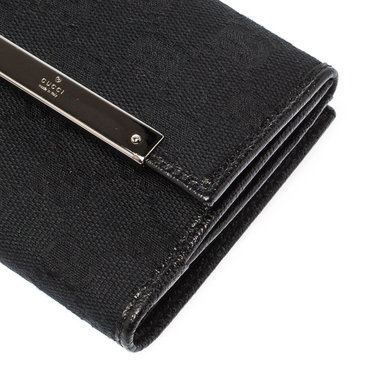 Gucci Black Guccissima Leather Mini Flap French Wallet For Sale 6
