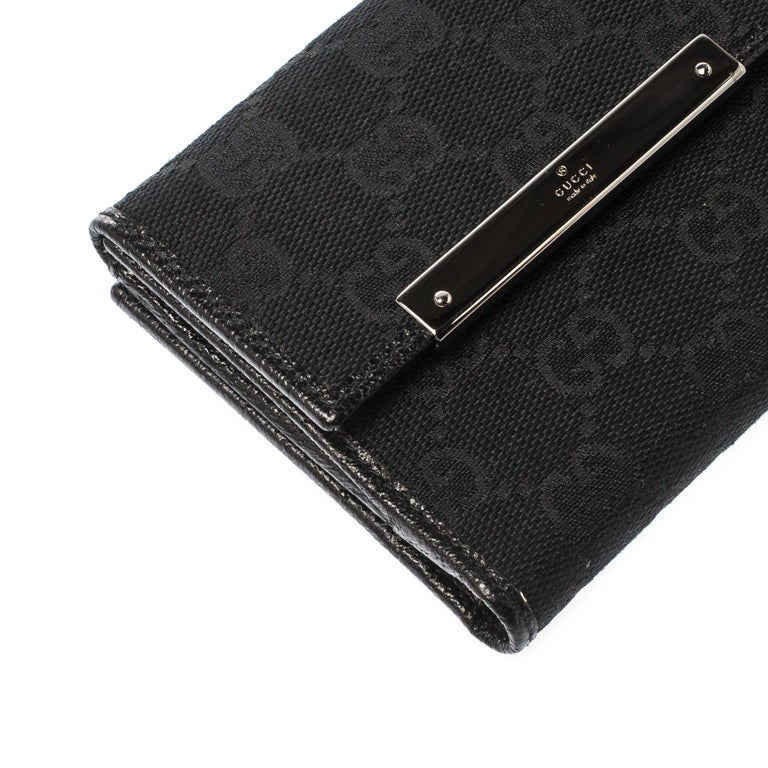 Gucci Black Guccissima Leather Mini Flap French Wallet For Sale 7