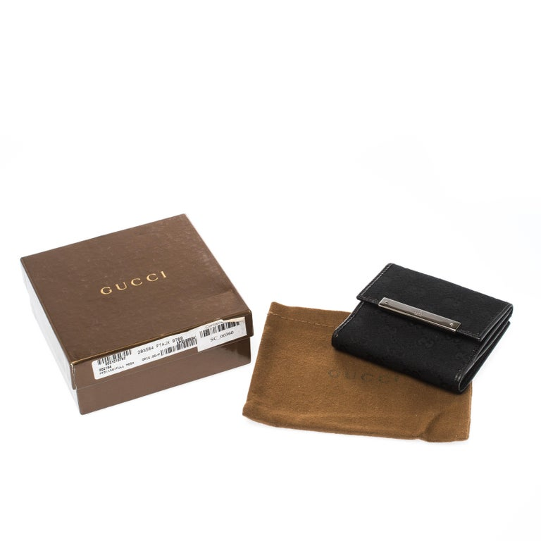 Gucci Black Guccissima Leather Mini Flap French Wallet For Sale 8