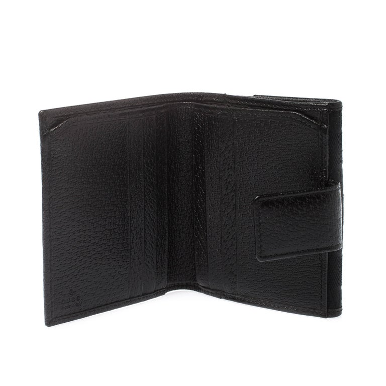Gucci Black Guccissima Leather Mini Flap French Wallet For Sale 3