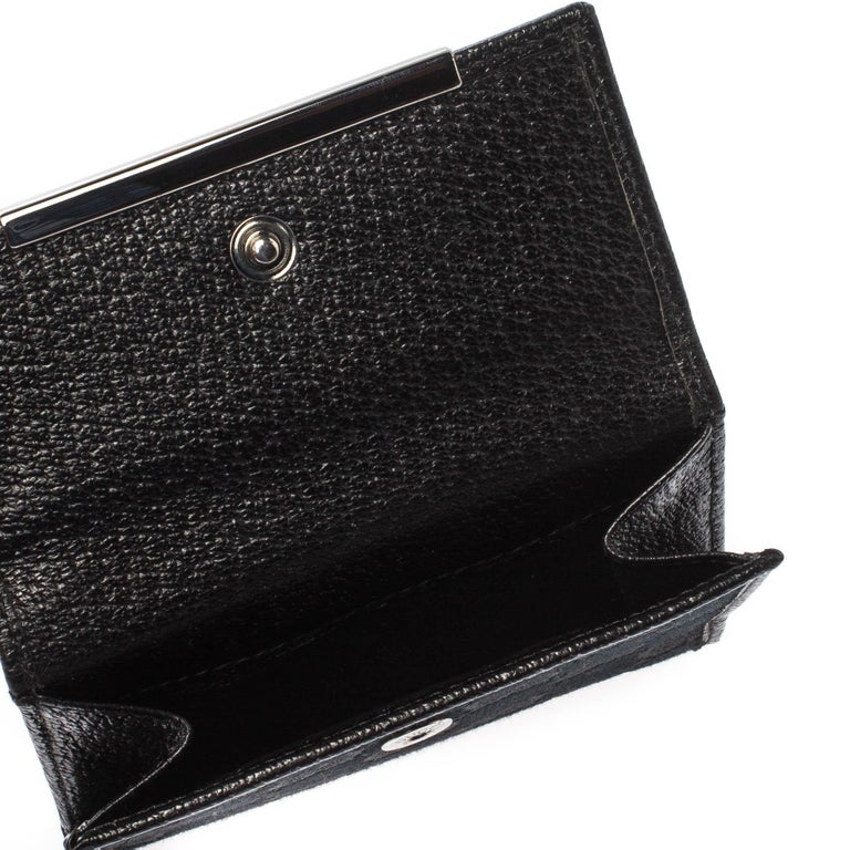 Gucci Black Guccissima Leather Mini Flap French Wallet For Sale 4