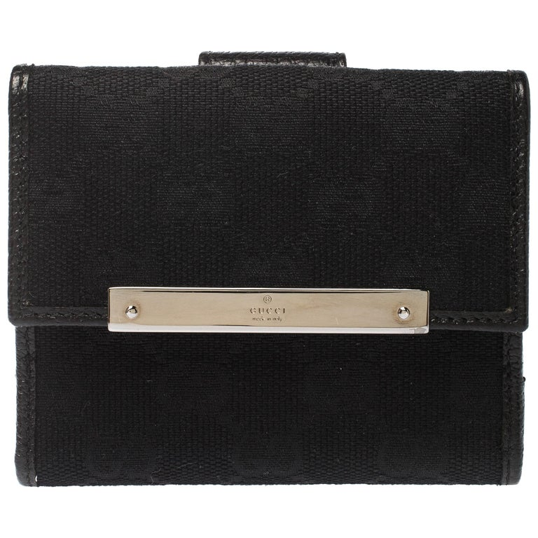Gucci Black Guccissima Leather Mini Flap French Wallet For Sale