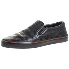 Gucci Black Guccissima Leather Slip On Sneakers Size 40.5