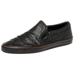 Gucci Black Guccissima Leather Slip On Sneakers Size 42