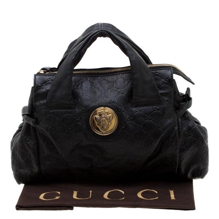 Gucci Black Guccissima Leather Small Hysteria Satchel For Sale 8