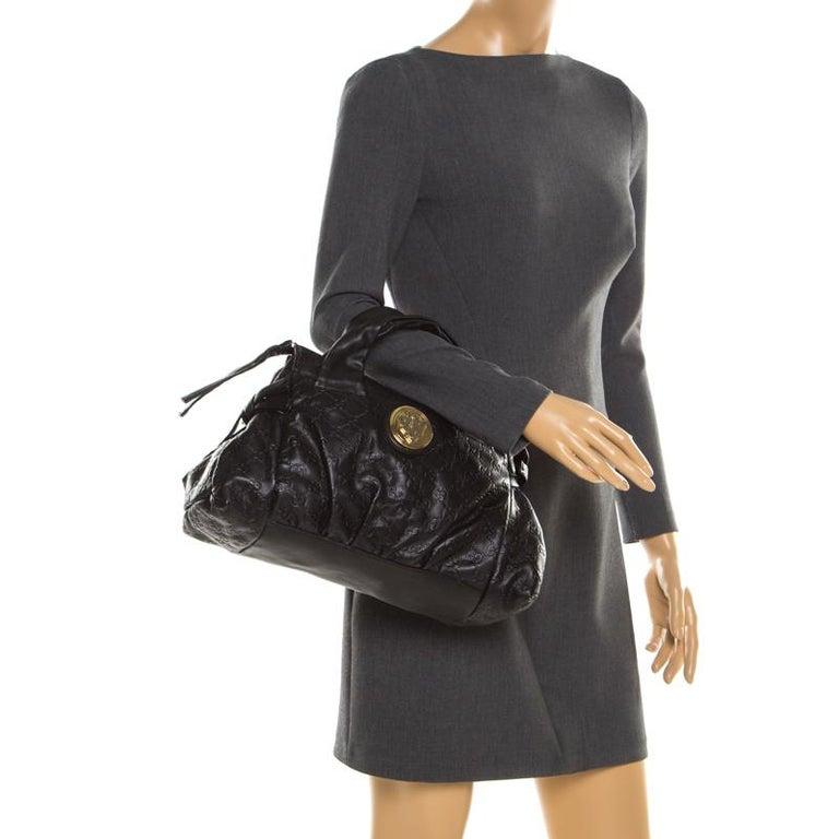 Gucci Black Guccissima Leather Small Hysteria Satchel In Excellent Condition For Sale In Dubai, Al Qouz 2