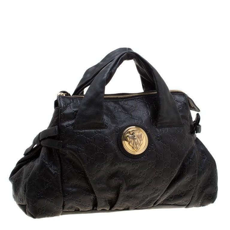 Women's Gucci Black Guccissima Leather Small Hysteria Satchel For Sale