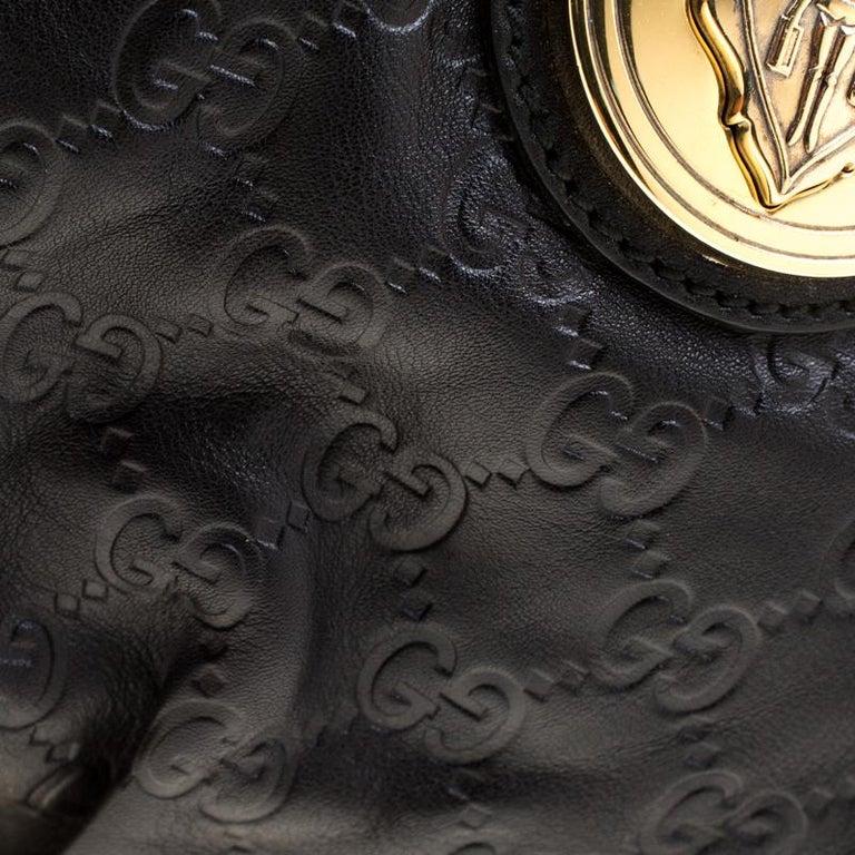 Gucci Black Guccissima Leather Small Hysteria Satchel For Sale 4