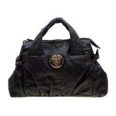 Gucci Black Guccissima Leather Small Hysteria Satchel