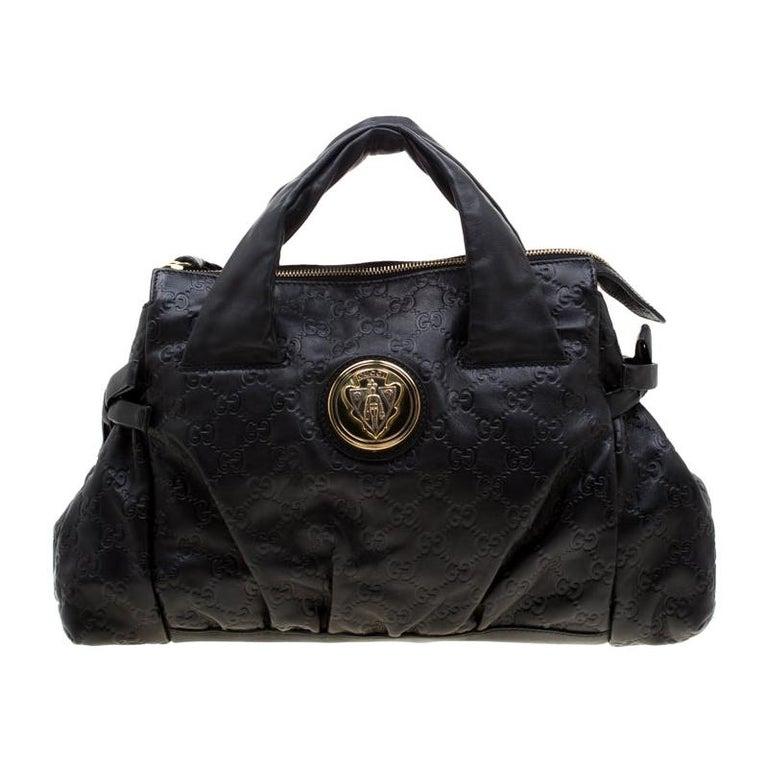 Gucci Black Guccissima Leather Small Hysteria Satchel For Sale