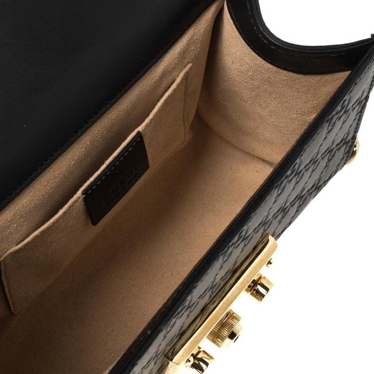 Gucci Black Guccissima Leather Small Padlock Shoulder Bag 6