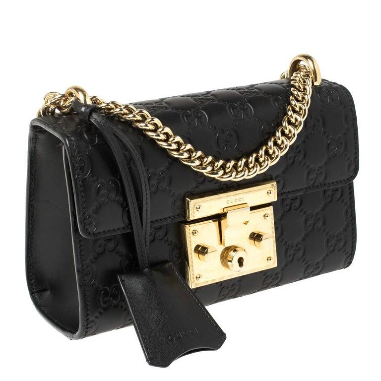 Women's Gucci Black Guccissima Leather Small Padlock Shoulder Bag