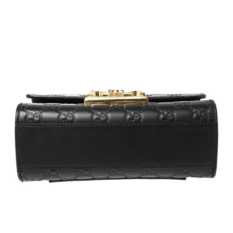 Gucci Black Guccissima Leather Small Padlock Shoulder Bag 1